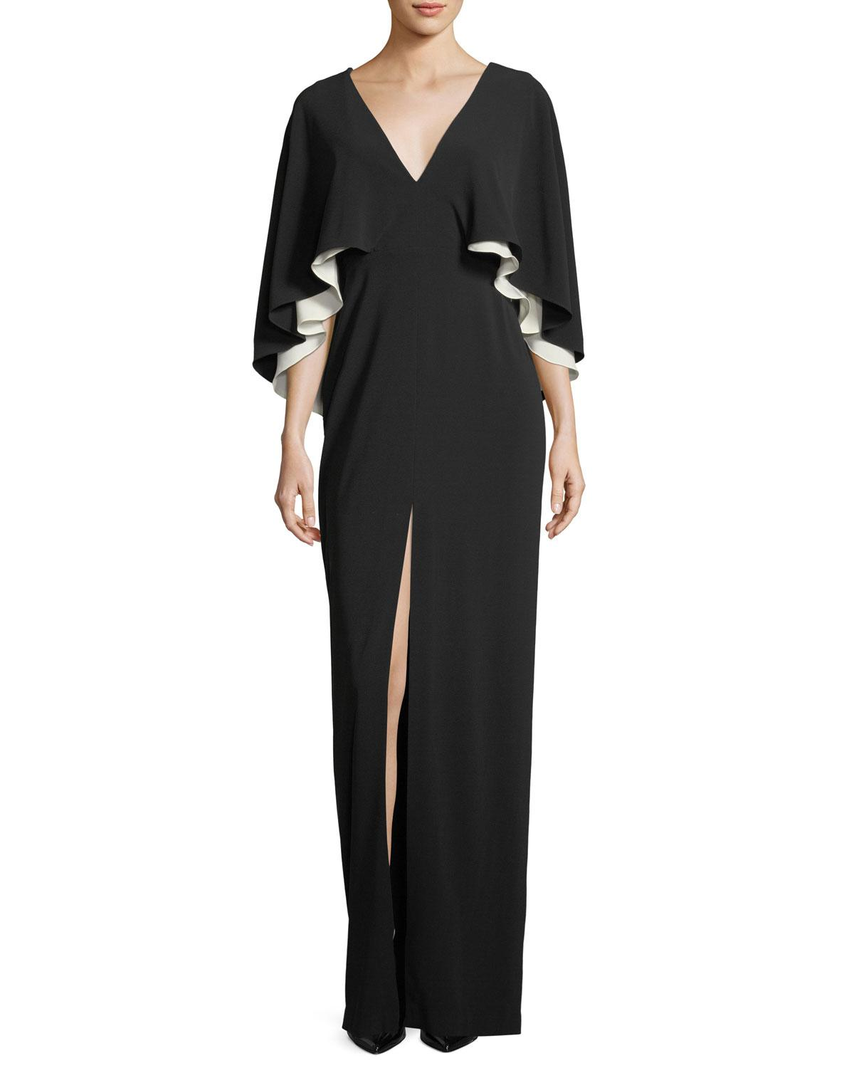 Lyst - Halston Heritage Colorblocked Cape Sleeve V Neck Gown in ...