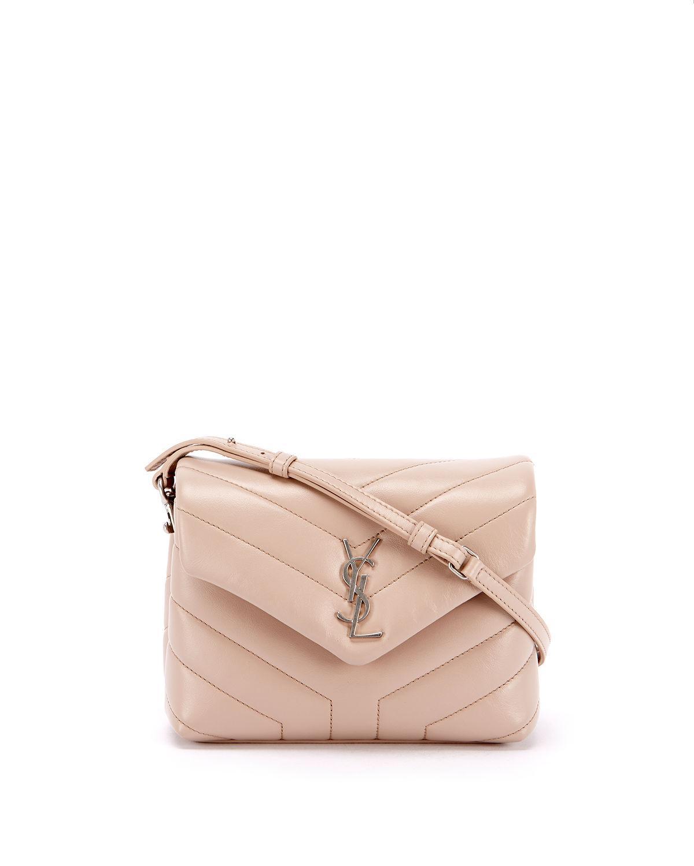 Saint Laurent. Women s Loulou Monogram Ysl Mini V-flap Calf Leather Crossbody  Bag - Nickel Oxide Hardware 874e1c88a742b