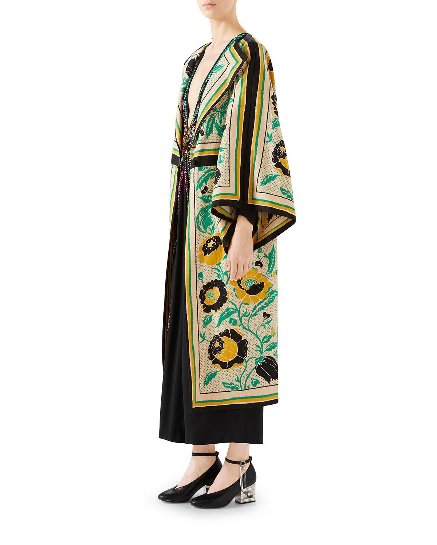 d218a8db01e Lyst - Gucci Swirling-flower Print Canvas Kimono in Green