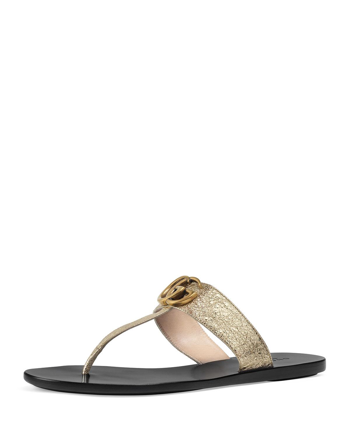 b4d216729 Lyst - Gucci Gold Double G Leather Thong Sandal. in Metallic - Save 13%
