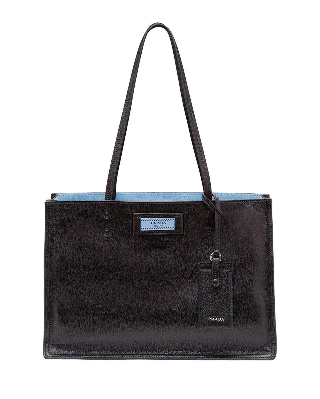 e6cbec452255 Prada - Black Small Glace Calf Etiquette Shopper - Lyst. View fullscreen