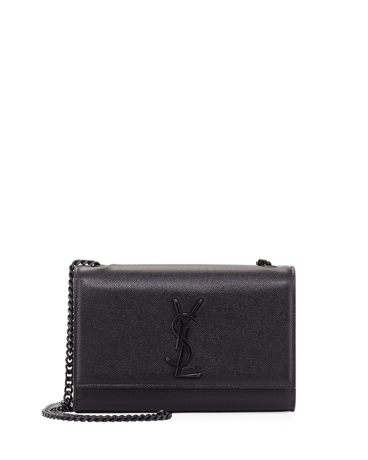 c9d6a2b99e Lyst - Saint Laurent Kate Monogram Ysl Small Chain Shoulder Bag in Black