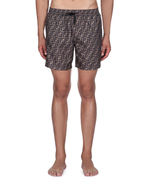 c14e82f7624b8 Lyst - Fendi Men s Logo Allover Swim Trunks in Gray for Men - Save 26%