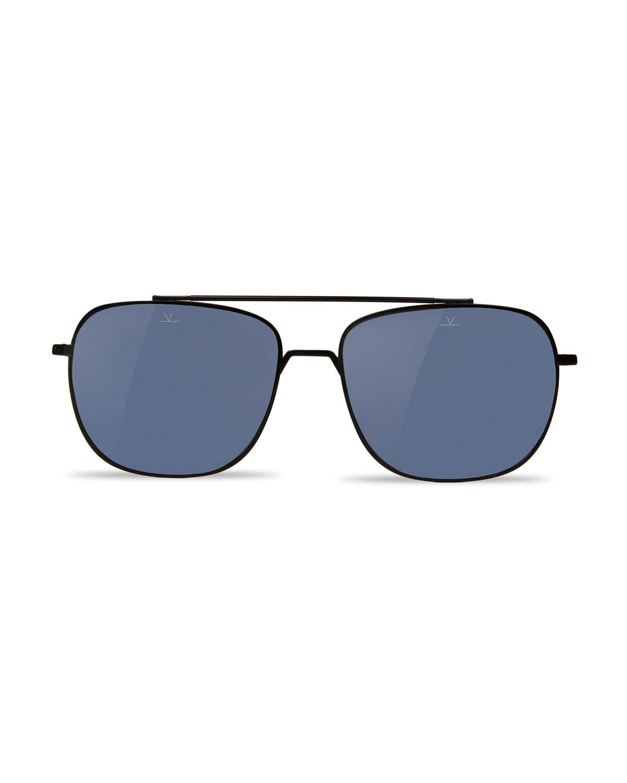 9dab56f29f0 Lyst - Vuarnet Swing Titanium Rectangular Aviator Sunglasses in Black for  Men - Save 12%