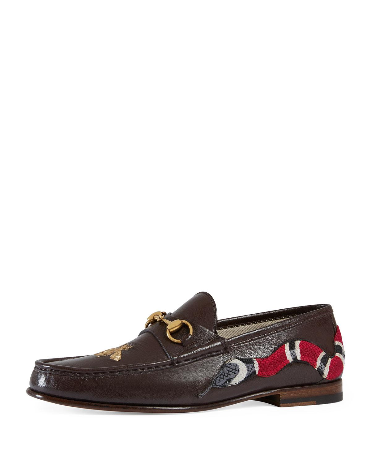 827b53726d59 Snake Loafer Men Moccasin With Leather Lyst Gucci For In Roos Brown qnAwIIpY