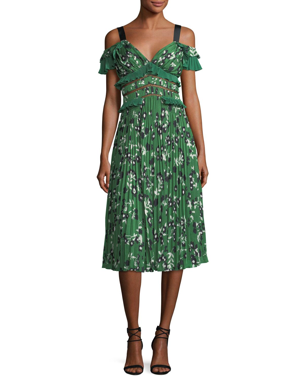Lyst Self Portrait Cold Shoulder Floral Print Midi Dress