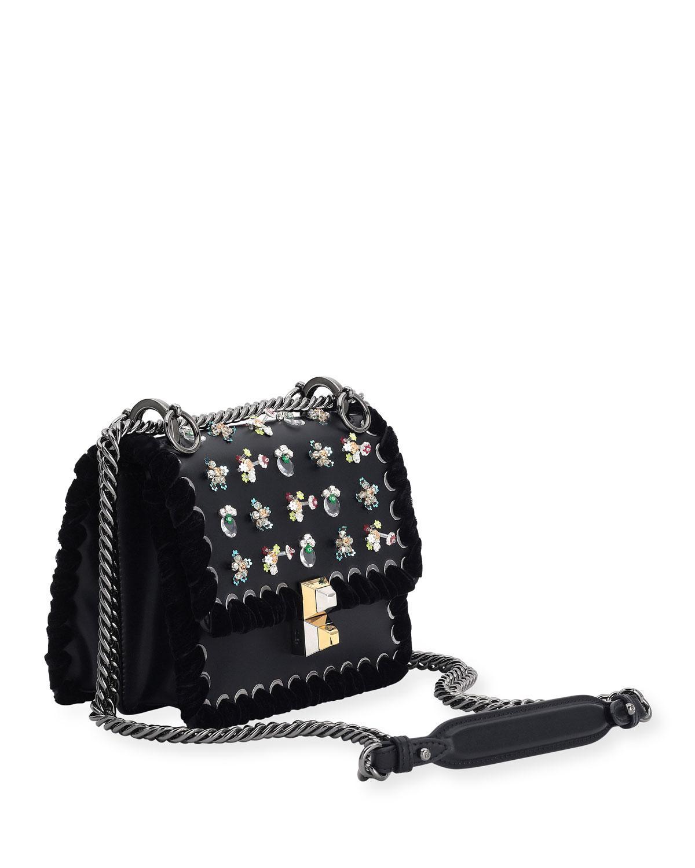 895e309003a Lyst - Fendi Kan I Mini Whipstitch Stones Shoulder Bag in Black