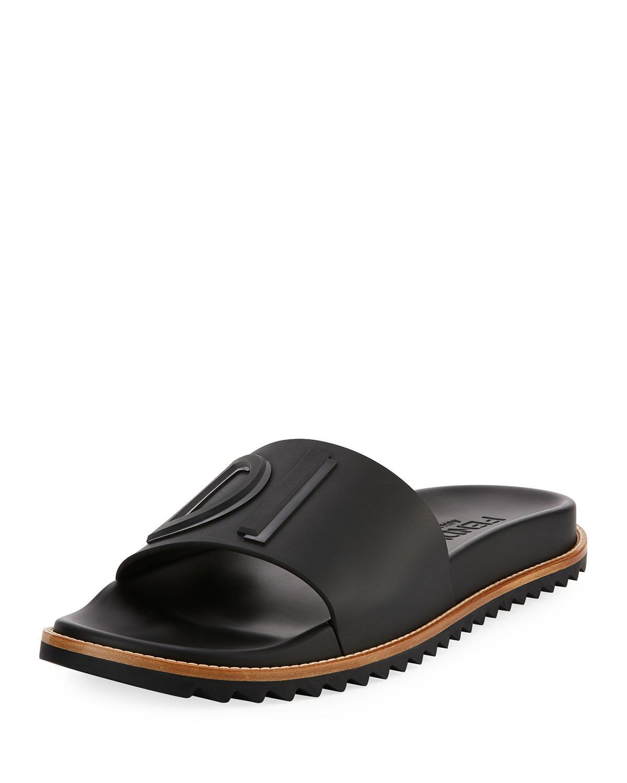 bf6d2ee5e Lyst - Fendi Rubber Slide Sandals W  Raised Logo Detail in Red for Men