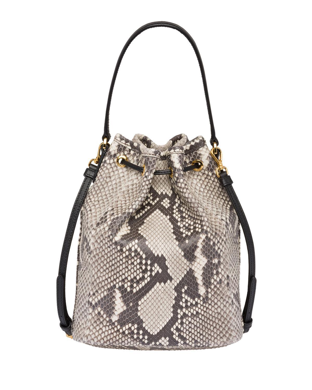 ce724719a4cc Prada - Multicolor Exotic Python Bucket Bag - Lyst. View fullscreen