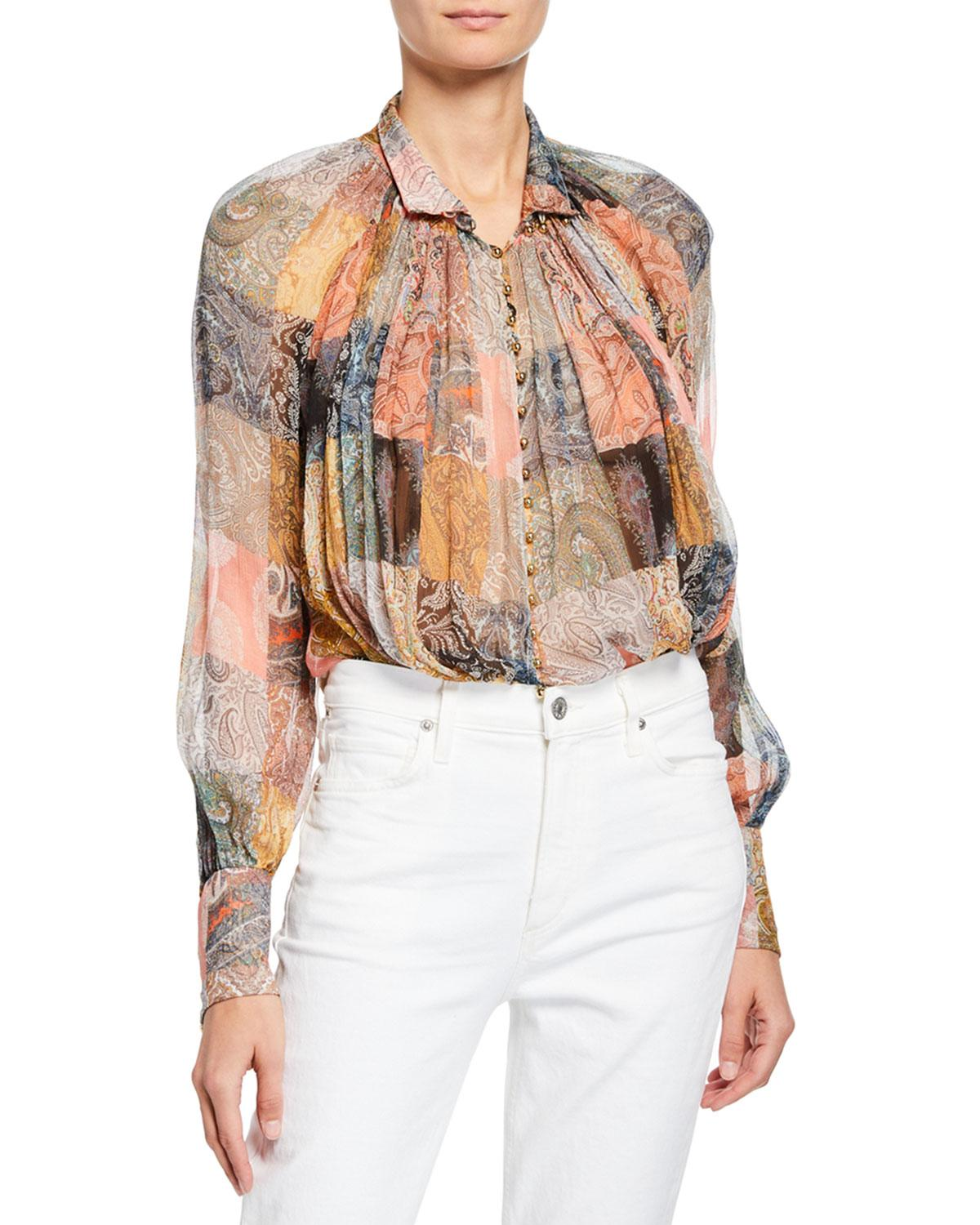 dc91276f1746a Zimmermann - Multicolor Printed High-neck Smocked Silk Top - Lyst. View  fullscreen