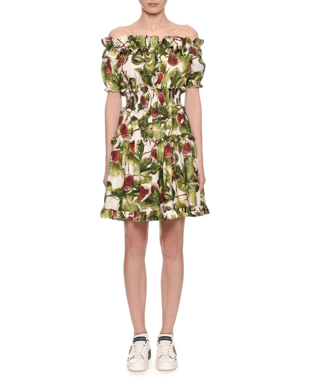 b41798a4 Dolce & Gabbana Off-the-shoulder Ruffle Fig-print Dress in Green - Lyst
