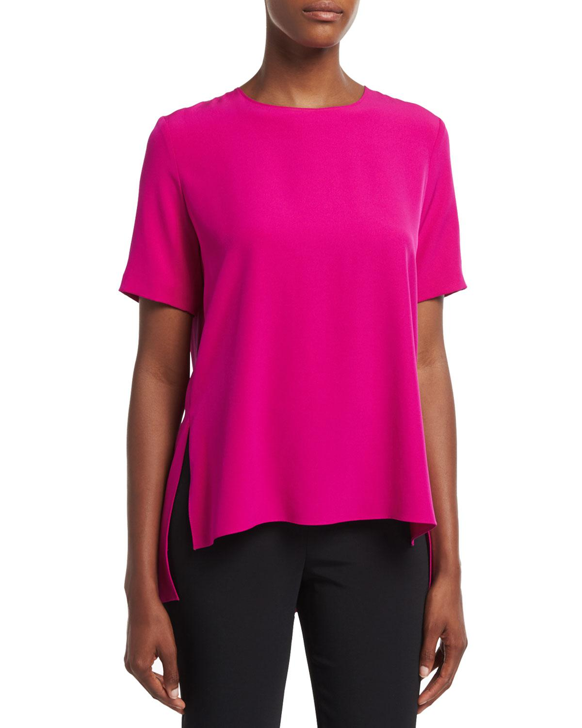 Lyst adam lippes short sleeve crepe t shirt in pink for Adam lippes t shirt
