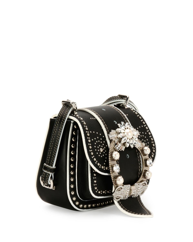 Buy Cheap Explore Wholesale Online embellished saddle bag - Black Miu Miu 100% Original Cheap Online Cheap Sale Pay With Paypal O8C2H