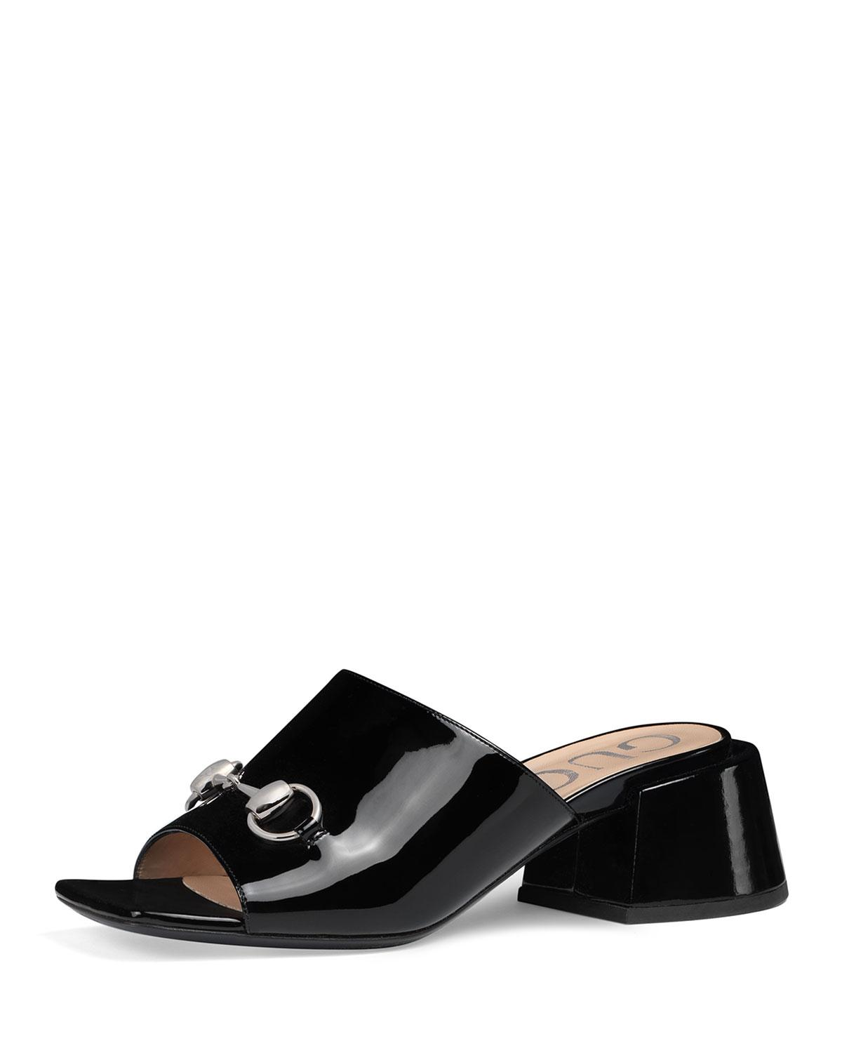 9d01cdf9a6db Lyst - Gucci Lexi 55mm Patent Leather Slide in Black
