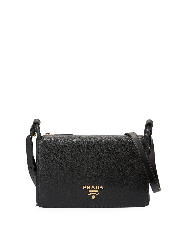 a76f7838eb68 Lyst - Prada Vitello Daino Small Flap Bag in Black