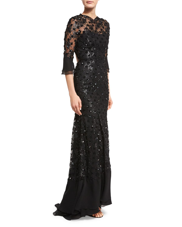 Lyst - Jenny Packham Sequin-embellished Open-back Gown in Black