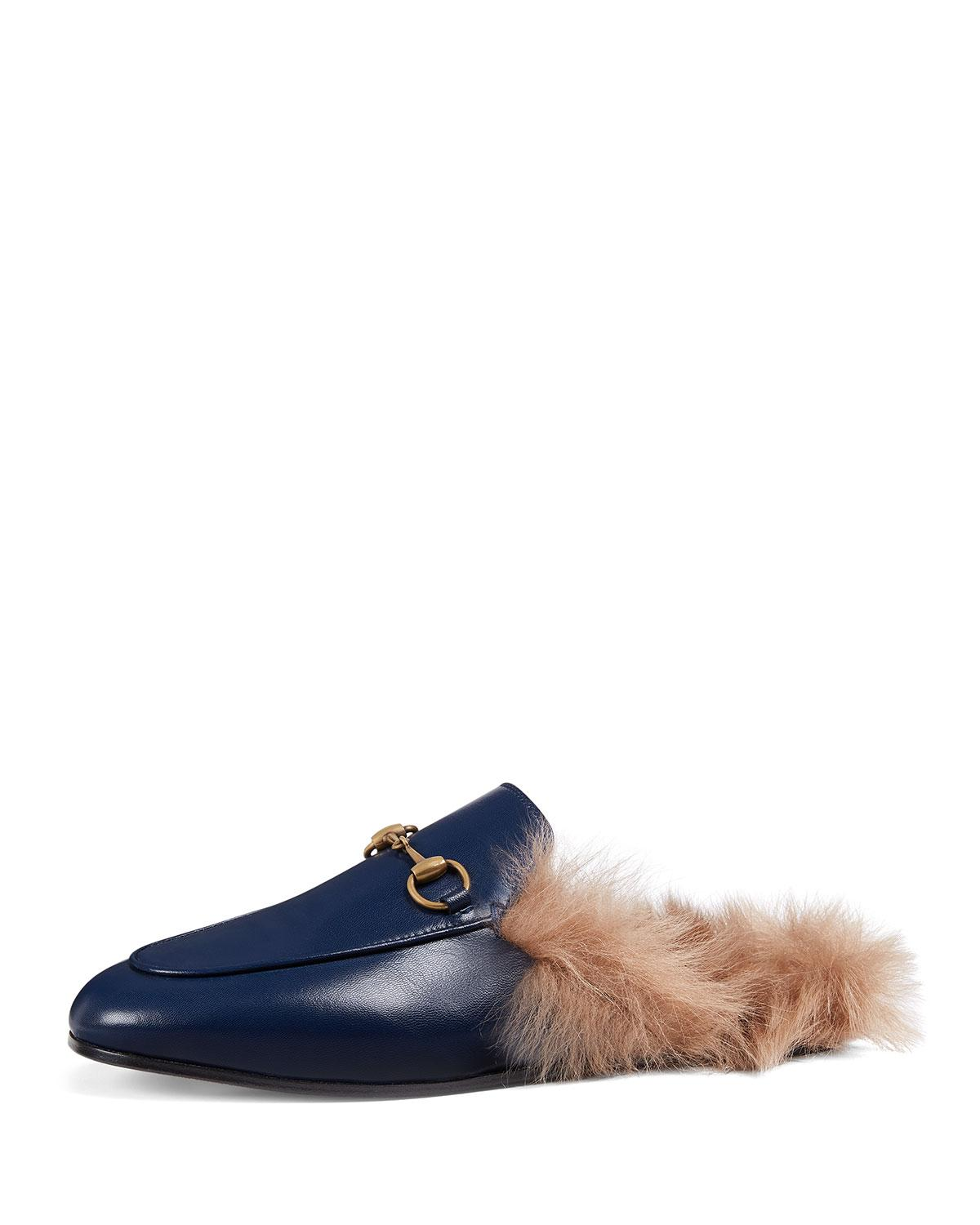 467352cdb2a Lyst - Gucci Fur-lined Leather Mule Slippers in Blue