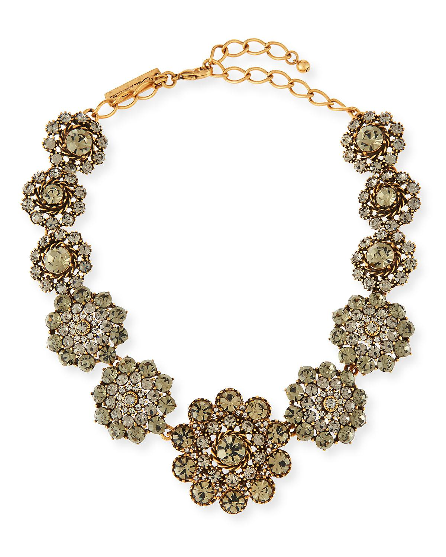 Oscar De La Renta Coral Choker Necklace w/ Swarovski Crystals aFwXlM
