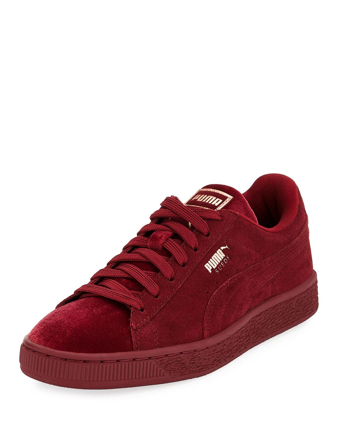 premium selection bebfc dd775 PUMA Red Classic Suede And Velvet Sneakers