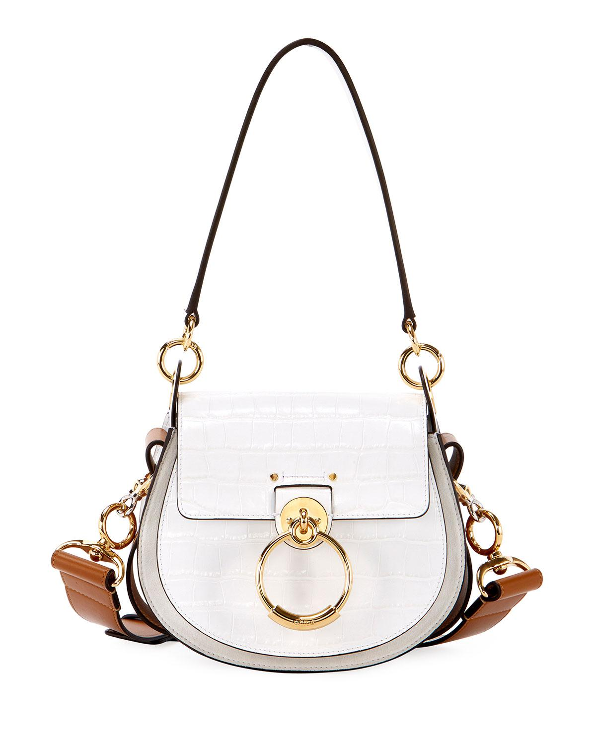 0d3658dbd1 Chloé - White Tess Small Embossed Leather Shoulder Bag - Lyst. View  fullscreen