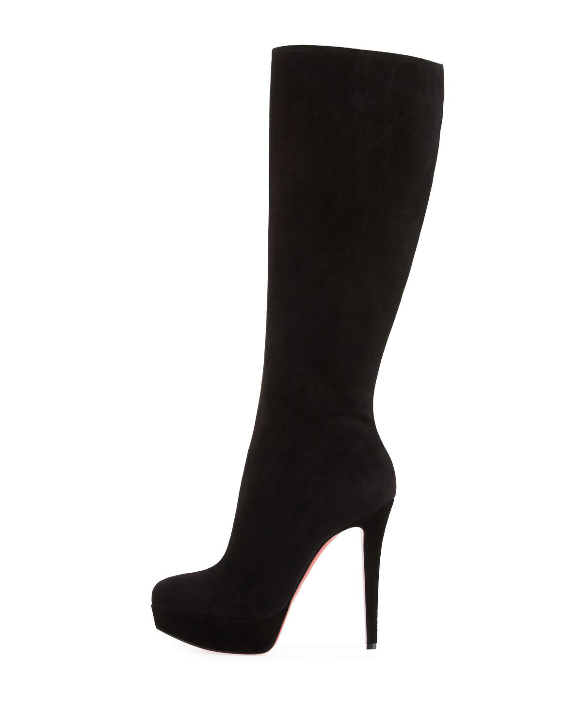 free shipping 740d2 33f74 Christian Louboutin Black Bianca Botta Suede Red Sole Boot