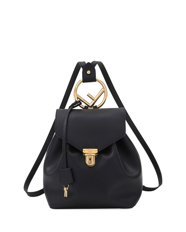 fcd4531494f9 Fendi Cruise Shiny Calf Leather Backpack in Black - Lyst