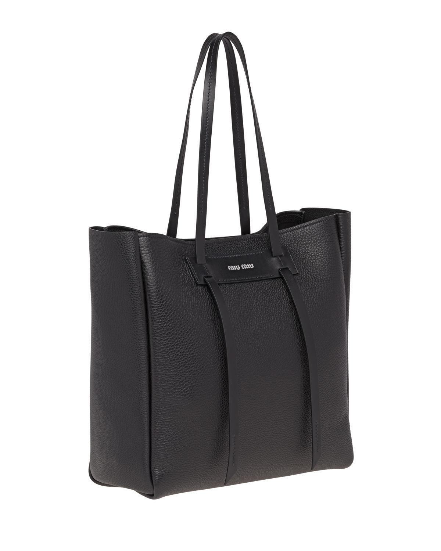 69bee915a668 Lyst - Miu Miu Daino Double-handle Tote Bag in Black
