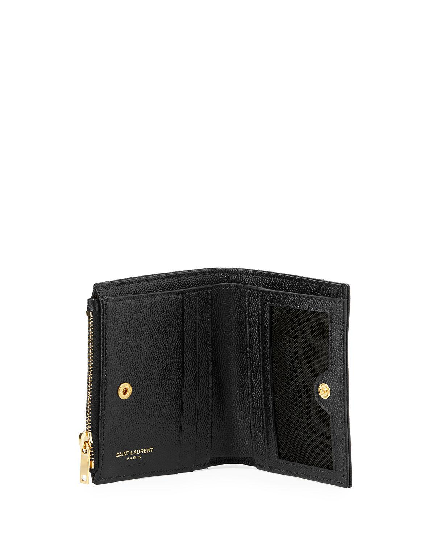 online store 39255 0e33a Saint Laurent Black Monogram Ysl Quilted Grain Leather Zip Card Case