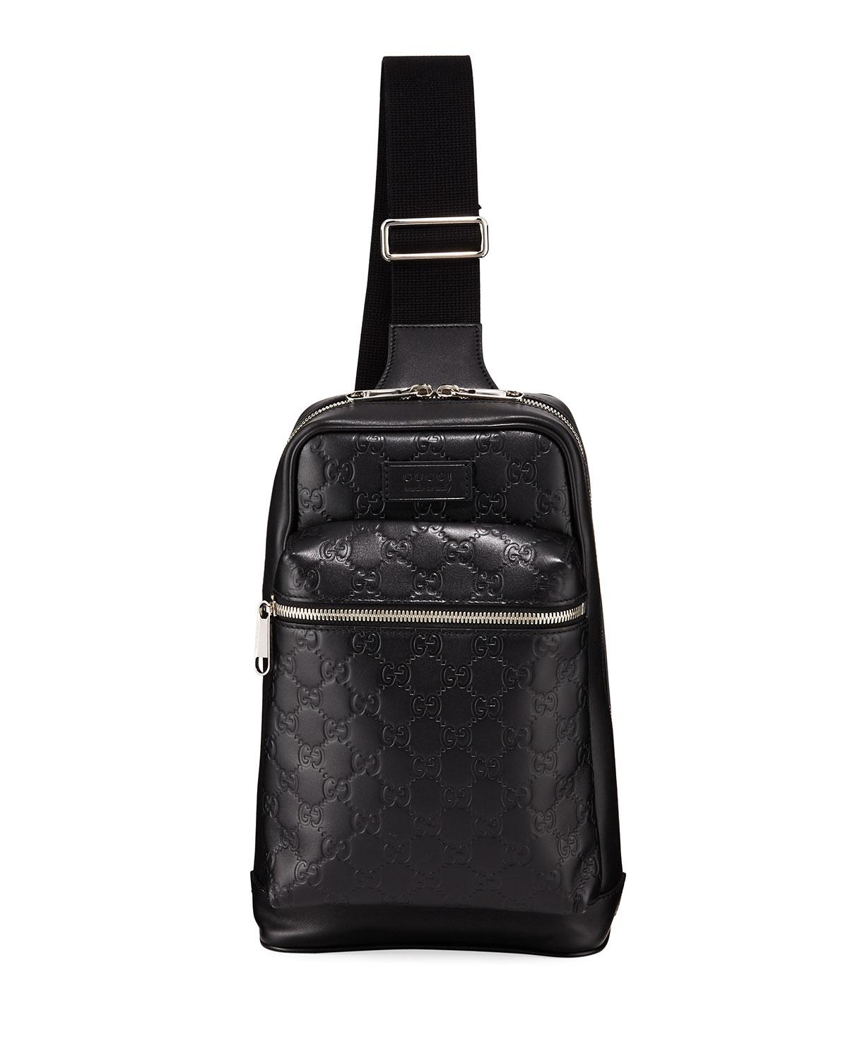 e10e860dfd54 Gucci Men's GG Leather Crossbody Backpack in Black for Men - Lyst