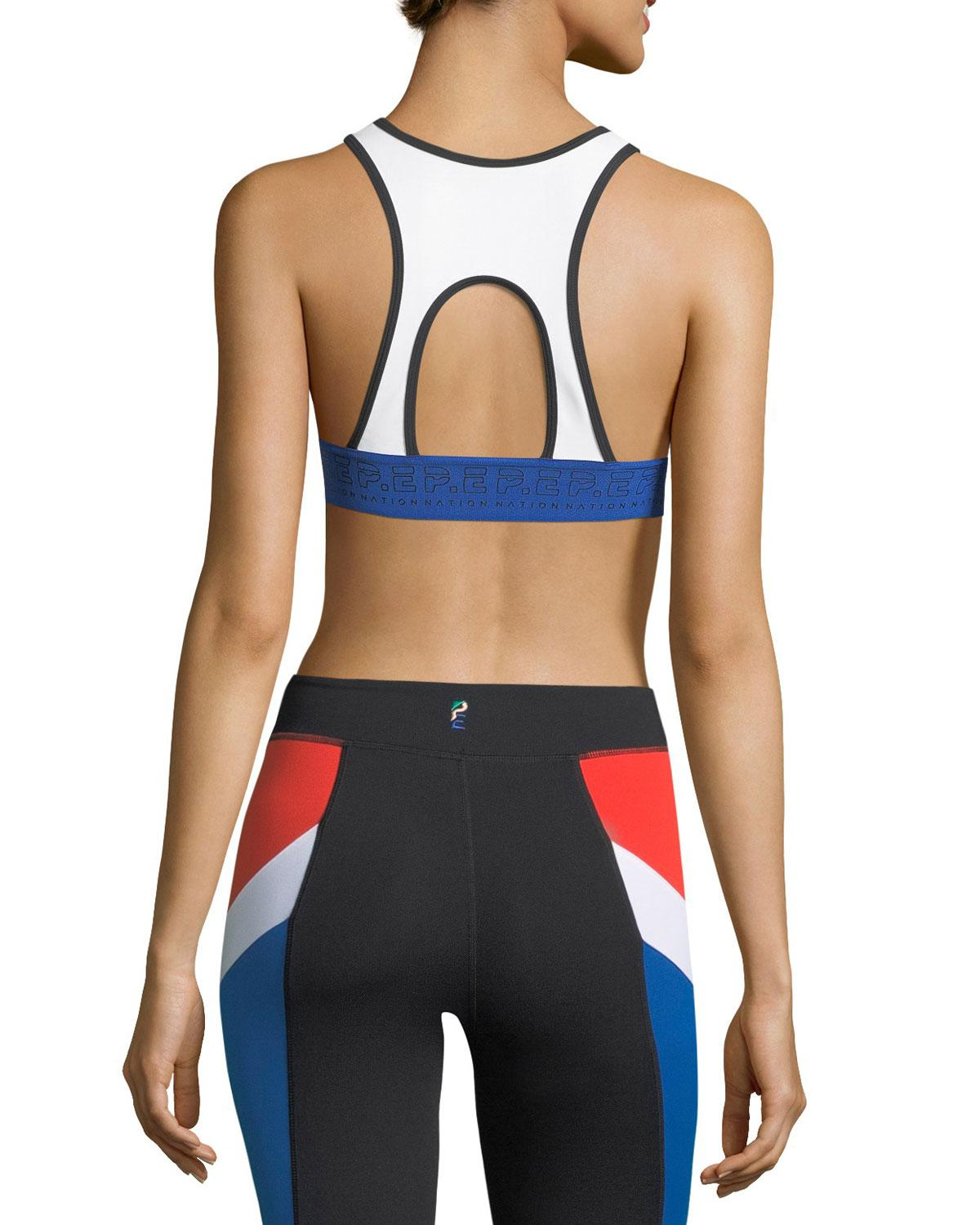 8b29451855107 Lyst - P.E Nation Double Header Crop Performance Sports Bra in Red