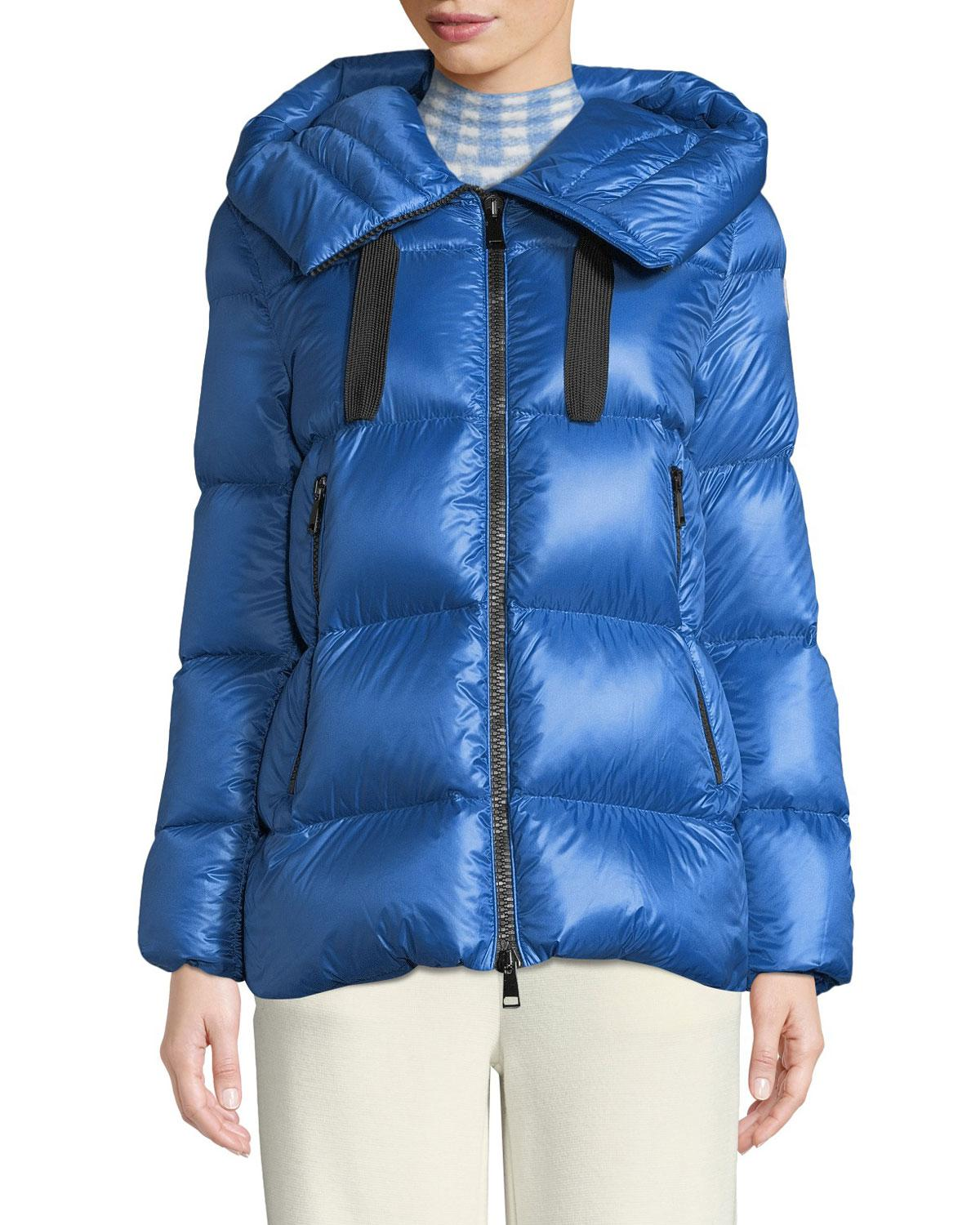 f84a4df3a Moncler Serin Puffer Coat W  Drawstring Hood in Blue - Lyst
