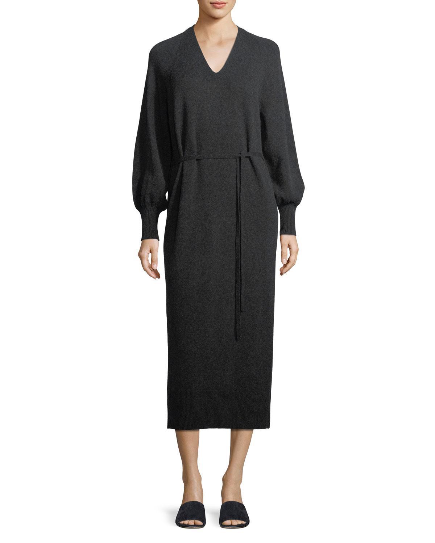 3abe3596b4fc9 Vince Side-slit V-neck Wool-cashmere Long Dress in Gray - Lyst