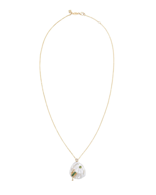 Of Rare Origin Bee My Honey diamond, sapphire & pearl pendant gold necklace - White
