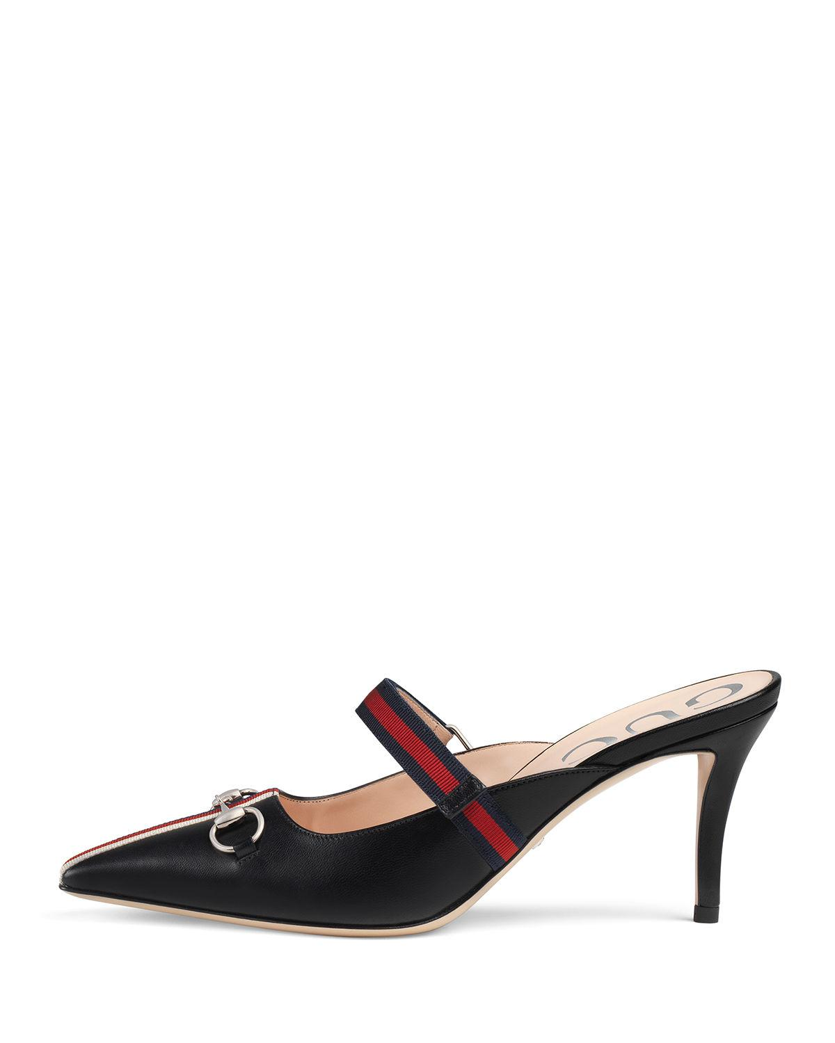 91410be830 Lyst - Gucci Horsebit Leather Slide Mules in White