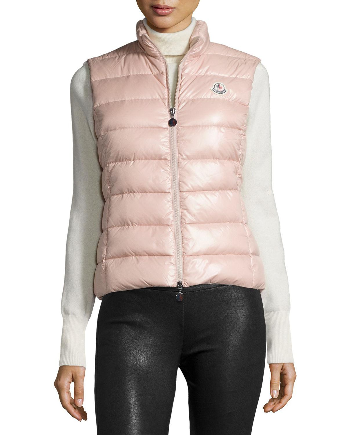 fb30de102 Moncler Pink Ghany Shiny Quilted Puffer Vest