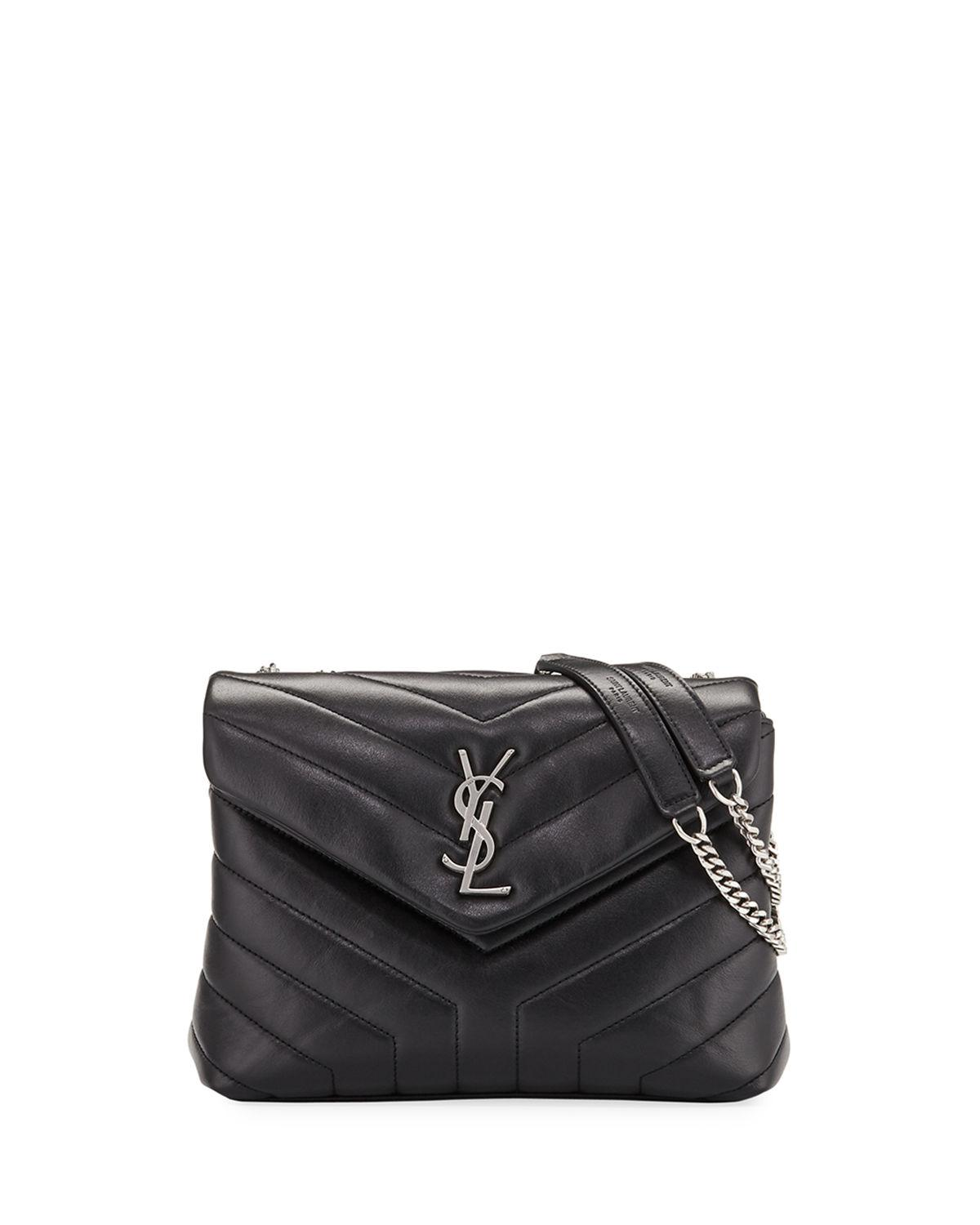 def93952c4 Saint Laurent. Women s Black Loulou Monogram Ysl Small V-flap Chain  Shoulder Bag ...