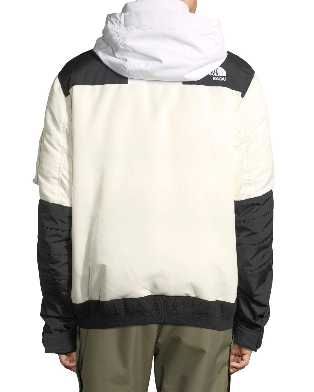 11278601b Sacai White The North Face & #174 Puffer Bomber Coat for men