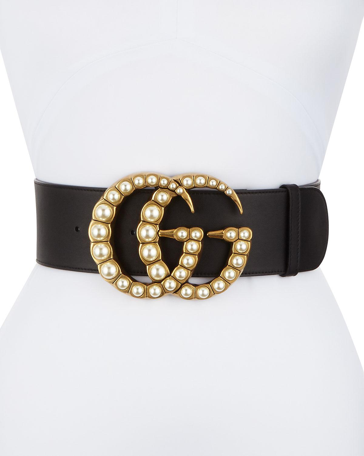 3cac299cac3 Lyst - Gucci Wide Leather Belt W  Pearlescent Beads in Black