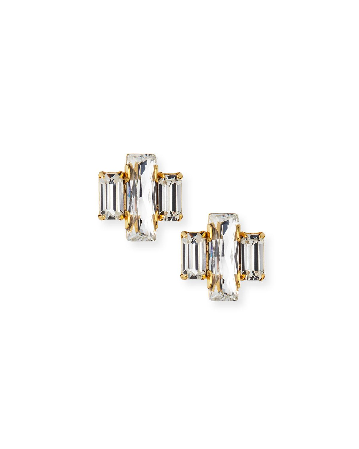 Auden Crystal Baguette Trio Stud Earrings LQAnxog9