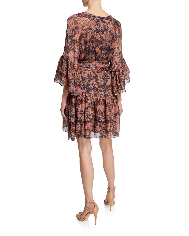 55d828f2da7bb Lyst - IRO Vanille Printed Tiered Ruffle Dress in Pink