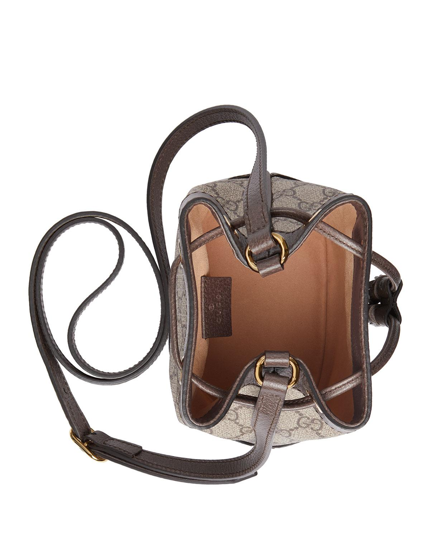 35cd71e7c02 Gucci Ophidia Mini GG Supreme Canvas Bucket Bag in Natural - Lyst