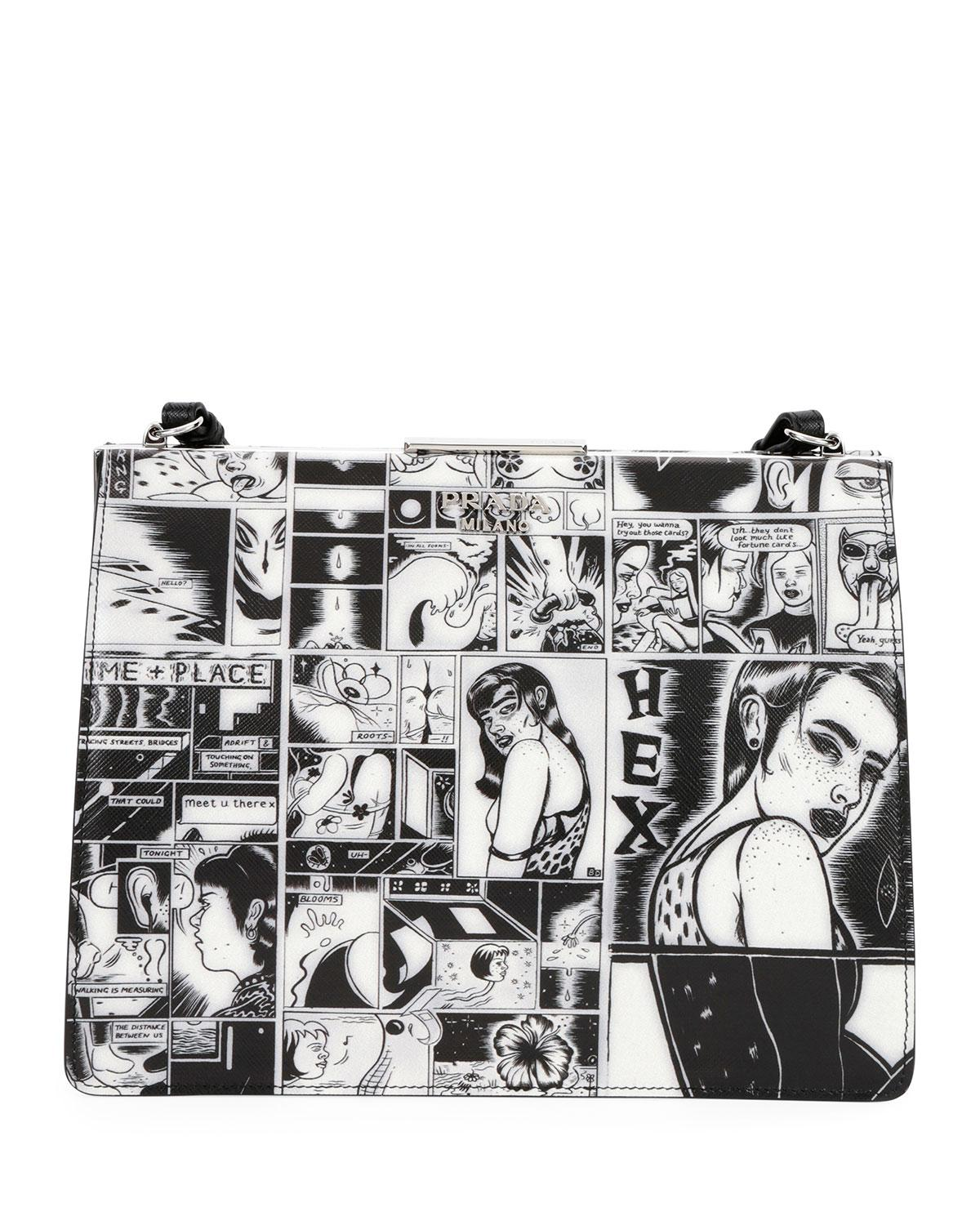 Prada Cartoon-Print Frame Shoulder Bag fHWX9Q2X