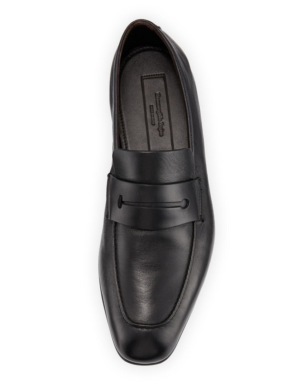 3aecbb9fa3b Ermenegildo Zegna Men s Lasola Soft Burnished Leather Penny Loafers in Black  for Men - Lyst