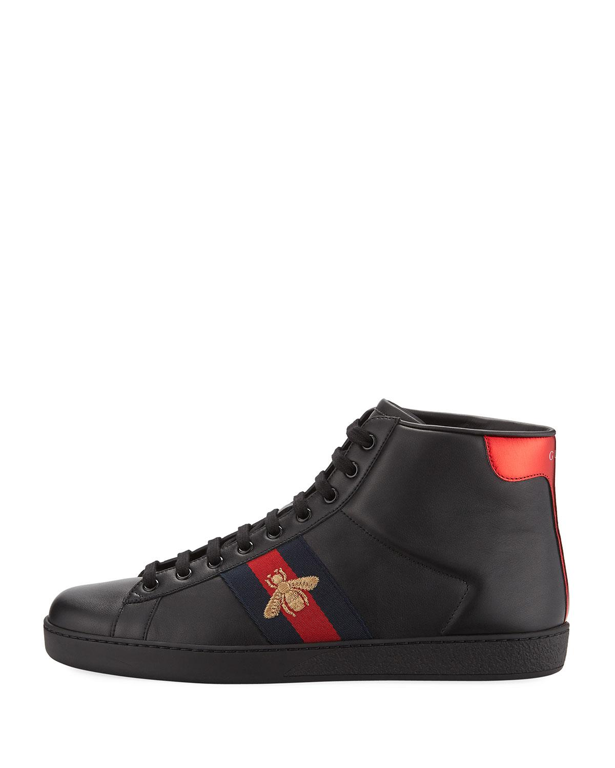 Gucci Leather Ace High-top Sneaker in