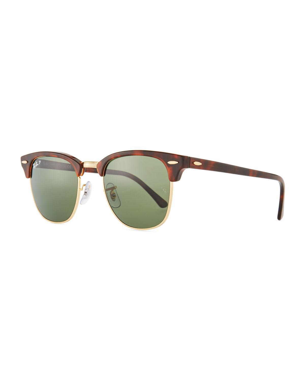 21ed93111dc Ray-Ban Men s Classic Clubmaster Polarized Half-rim Sunglasses for ...