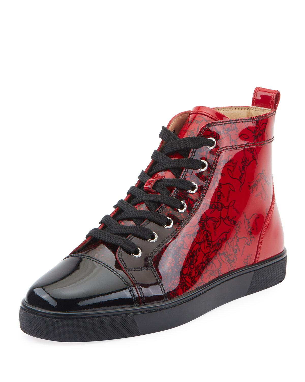 Christian Louboutin Black Men S Louis Ombre Patent Leather High Top Sneakers