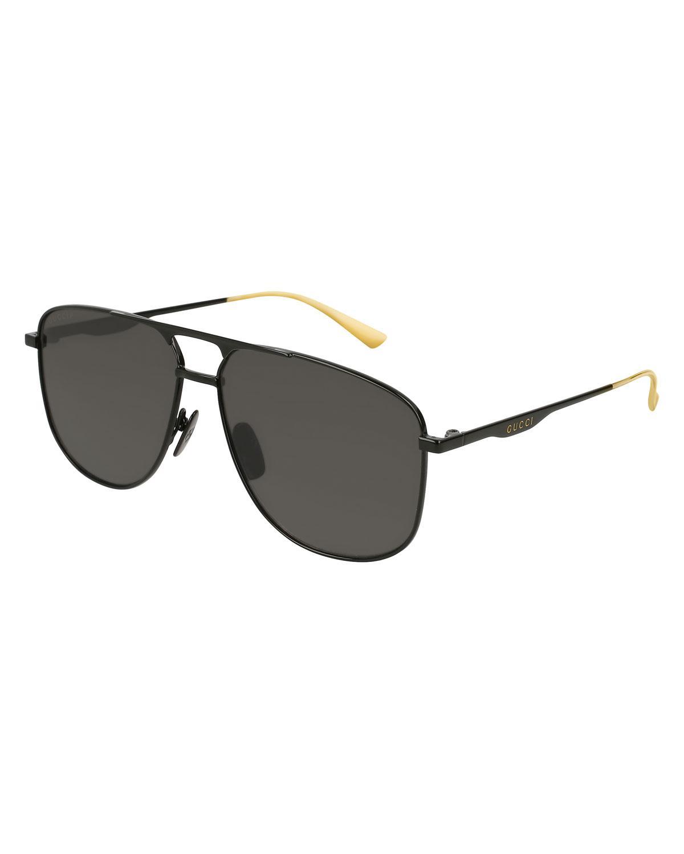 17ddcd87e67 Gucci. Men s Black Square Metal Aviator Sunglasses.  534 From Bergdorf  Goodman