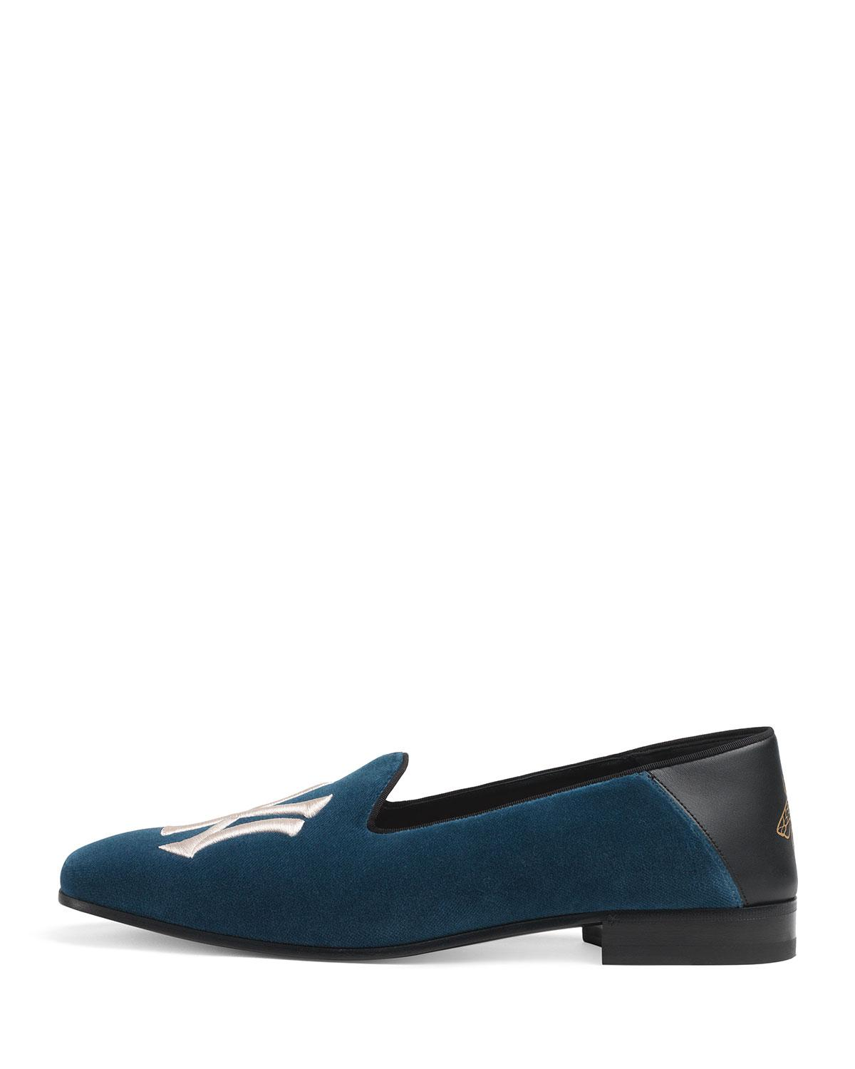 9a5573926d5 Lyst - Gucci Men s Fold-down Velvet Loafers With Ny Yankeestm Patch in Blue  for Men