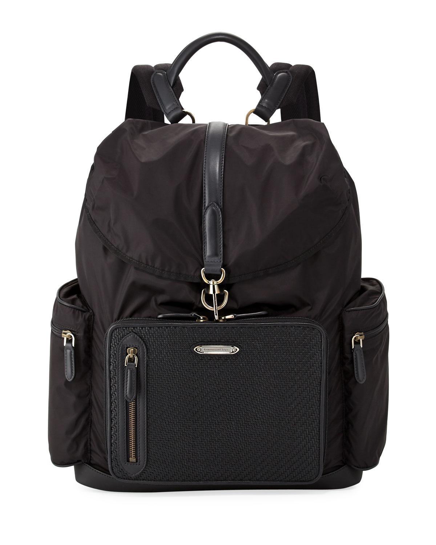 Ermenegildo Zegna Pelle Tessuta Leather And Shell Backpack Buy Cheap Shop Offer 1TXJbA0CQ