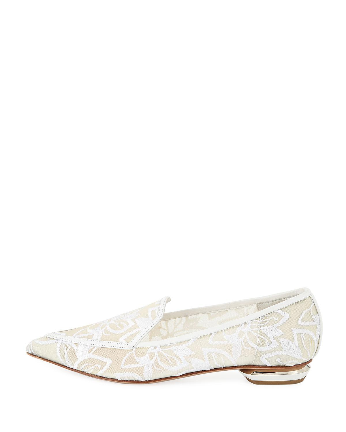 77a5103e41b Lyst - Nicholas Kirkwood  beya  Floral Embroidered Metal Heel Mesh Skimmer  Loafers in White - Save 4%